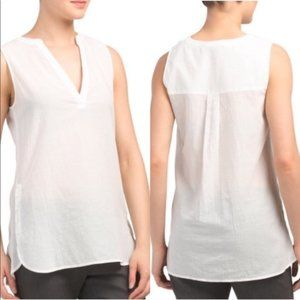 Theory White Airy Cotton Popover Top NWT